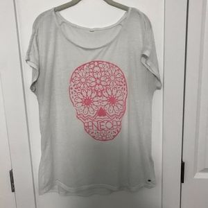 White T-Shirt with Pink Skull
